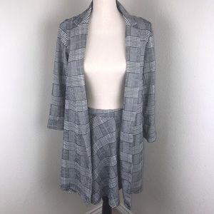 Must Have Plaid Blazer Jacket/Skirt Set In Size M
